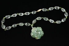 "Estate 18""Green Jadeite W/Carved  flower Necklace"