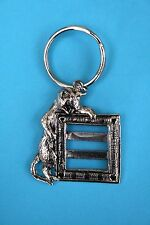 Novelty Cat Photo Frame on Key Ring in Silver Tone Metal