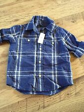 GAP KIDS BOYS LINEN & COTTON BLEND BLUE CHECK SHIRT - TIE UP SLEEVES 3 YRS BNWT
