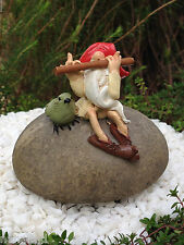 Miniature Dollhouse FAIRY GARDEN ~ Gnome on Rock Playing Flute with Bird ~ NEW