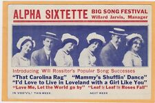 Advertising Postcard - Alpha Sixtette Music Carolina Rag Mammy's Shufflin' Dance