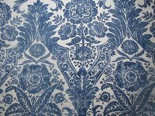 "SCALAMANDRE CURTAIN FABRIC DESIGN ""Luciana Damask Print"" 2.1 METRES DENIM"