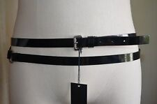 DSQUARED² RUNWAY BLACK PATENT LEATHER WRAP AROUND BUCKLE & RING SILVER BELT S L
