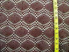 BURGUNDY SILVER SPARKLE CROCHET LOOK OPENWEAVE FABRIC NO STRETCH BY THE 1/2 YARD