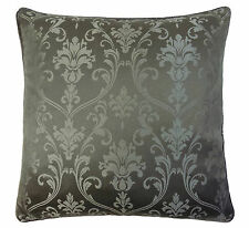 "FEATHER FILLED DAMASK SILVER GREY PIPED FAUX SILK 45CM -18"" CUSHION"
