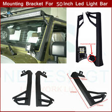 "Pair 2007-15 Jeep Wrangler JK 50""Led Light Bar Steel Windshield Mounting Bracket"