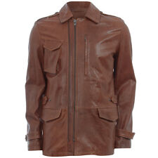 Maison Martin Margiela Brown Leather Zipped Aviator Jacket Coat -IT 48 UK 38