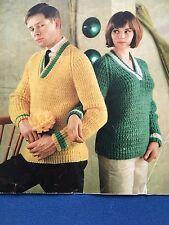 "Knitting Pattern Women Ladies Men Jumper V Neck Chunky 34-42"" Vintage"