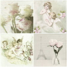 4x Single Table Party Paper Napkins for Decoupage Vintage Roses Angels -Mix