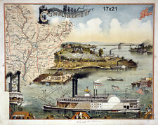 Mississippi river steamboat Map of southern states repro Map Poster 17x21