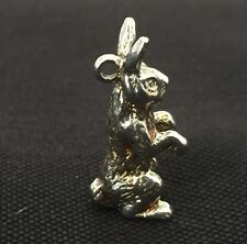 Vintage bunny rabbit charm silver tone 1970s