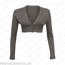 New Ladies Women's Long Sleeve Cropped Button Shrug Bolero Cardigan Top One Size
