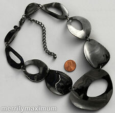 Chico's Signed Necklace Shiny Gunmetal Black Organic Chunky Shape Chain