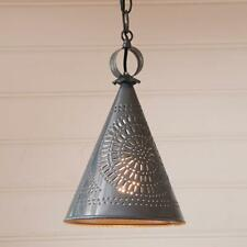 Country tin STURBRIDGE witch hat punched tin ceiling light /FREE SHIPPING
