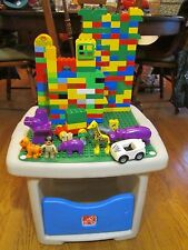 Step 2 Lego Duplo Play Table BLUE GREEN with Lots of Storage 175 REAL DUPLOS
