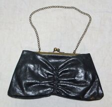 HOBO INTERNATIONAL Black Kisslock Clutch Chain Strap Purse Bow-Shape Handbag