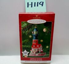 Hallmark Keepsake Ornament 2001 LIGHTHOUSE GREETINGS LIGHTED  #H119 NIB