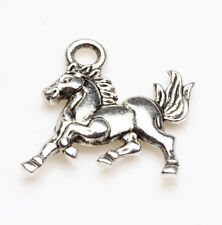25pcs Tibet Silver Horse Loose Pendant Jewelry Making For Bracelet 15x14mm