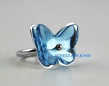 BACCARAT JEWELRY PAPILLON BUTTERFLY STERLING SILVER AQUAMARINE RING SZ 53 NEW
