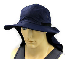 Sun Flap Boonie Cap Ear Neck Cover hat Sun Protection Soft material - Navy Blue