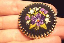 vintage purple Violet flower hand stiched black round brass trimmed pin brooch