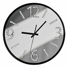 WALL CLOCK WITH DIAMANTE STYLISH NUMBERS SILENT SWEEP GLASS MIRROR MODERN NEW