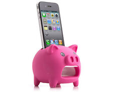 Eco Sound Box Speaker & Apple iPhone 4, 4S, 5 & 5S Stand Novelty Holder- Pig