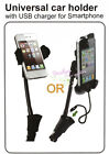 Long Car Mount Holder Power Charger for iPhone 4S Samsung Galaxy s2 i9300 Nokia