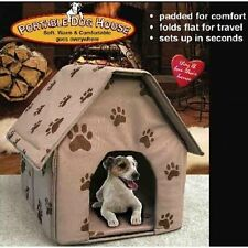 Portable Dog House Padded Pet Cat Folds Flat Collapsible Indoor Outdoor Travel