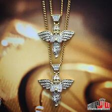 14k Yellow Gold Finish Double Angel Pendant Chain Set Migos Ross Tyga Jay Z Iced