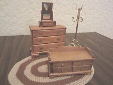 Lot of 4 Dollhouse Miniatures Chest Blanket Chest Dresser Mirror Brass Clothes T