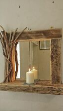 Rustic reclaimed driftwood farmhouse mirror with shelf and decorated frame