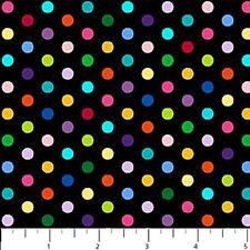 COLORWORKS~NORTHCOTT FABRIC~BY 1/2 YD~MULTICOLOR RAINBOW DOTS ON BLACK~20785-99