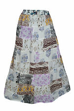 GYPSY HIPPIE BOHO PATCHWORK SKIRT RAYON PRINTED SUMMER PEASANT MAXI SKIRTS