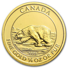 2013 1/4 oz Proof Gold Canadian $10 Polar Bear Coin - SKU #83205