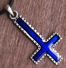 Gothic Crucifix Upside down reversed Inverted St. Peter Cross Pewter Pendant