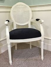 French Louis Armchair White Black Shabby Chic Antique Style Bedroom Hall Dining