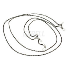 2Pcs Fashion Black Eyeglasses Necklace Chain Cord Reading Glasses Holder Strap