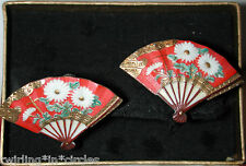 TOSHIKANE EARRINGS RED HAND PAINTED FANS  IN ORIGINAL BOX VINTAGE SCREWBACKS