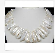 """MP"""" NATURAL AAA+QUALITY WHITE BIWA PEARL NECKLACES 18"""" Long"""