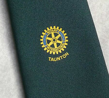 Rotary International Taunton Club asociación tie Vintage Años 70 Años 80 Verde Oscuro