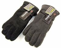 Mens Thinsulate Polar Fleece Winter Gloves Thermal lining in Black Grey M/L L/XL