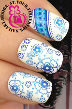 NAIL ART WRAP WATER TRANSFER DECALS PRETTY BLUE FLOWERS & LACE BANDING #162