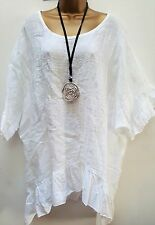 New Ladies Italian Lagenlook Linen White frill loose tunic top 18 20 22 24 26