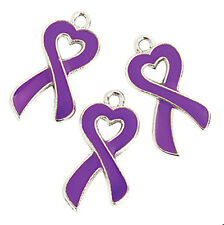 Purple Ribbon Charms Heart Cancer Awareness Pendants CF Lupus Lot of 36