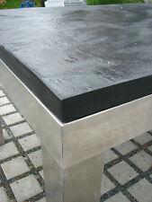 stabiler Terrassentisch/ Esstisch mit Schieferplatte schwarz 180x90 +Edelstahl