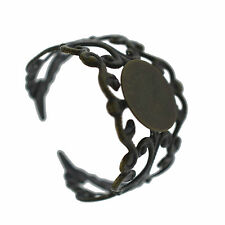 4 Filigree Adjustable Ring Blanks Settings Bronze 10mm Pad Jewellery Findings