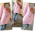 Women Ladies Bouse Loose Pullover T Shirt Three Quarter Tops Shirt Blouse PK/XL