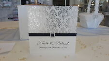 DIY Silver and Ivory Wedding Invitations - kits makes 80 Full invite sets