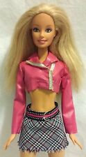 Barbie Doll in Pink Jacket and Plaid Pink and Black Mini Skirt -Blonde Mattel